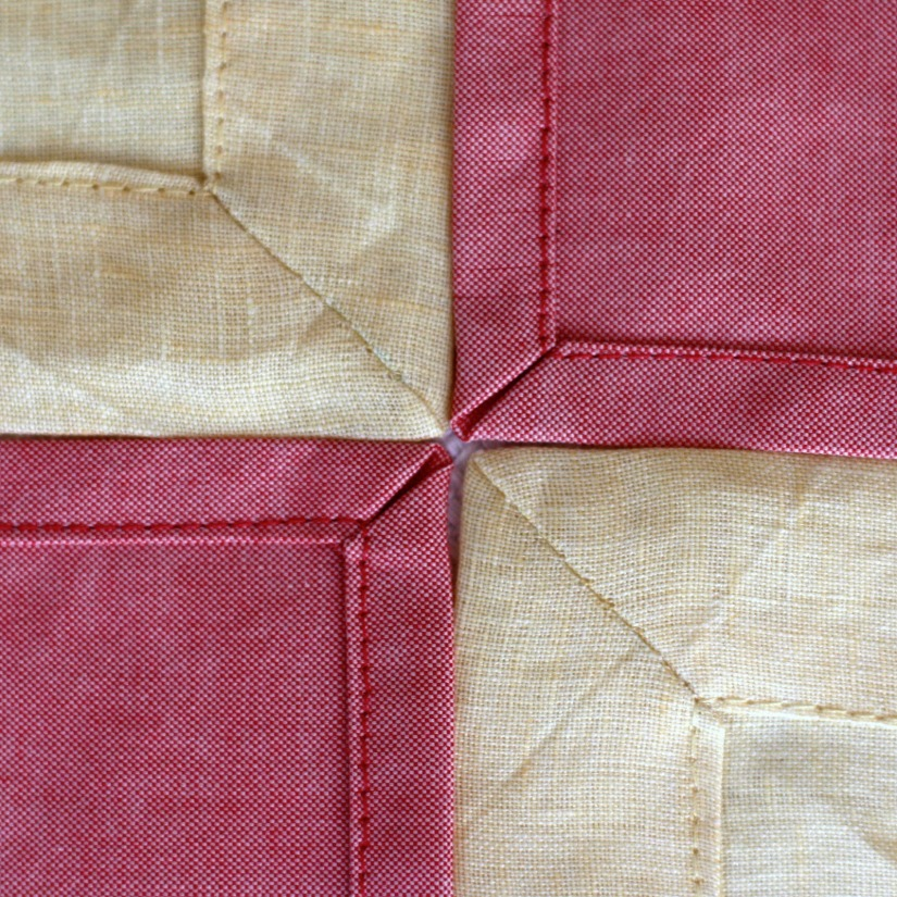 Two ways, two fabrics for mitered napkins.