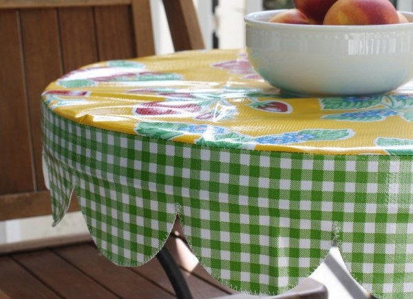 Mexican oil cloth round table cover